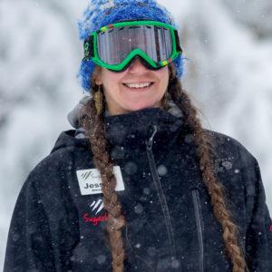 Sugarbush employee in snowsuit